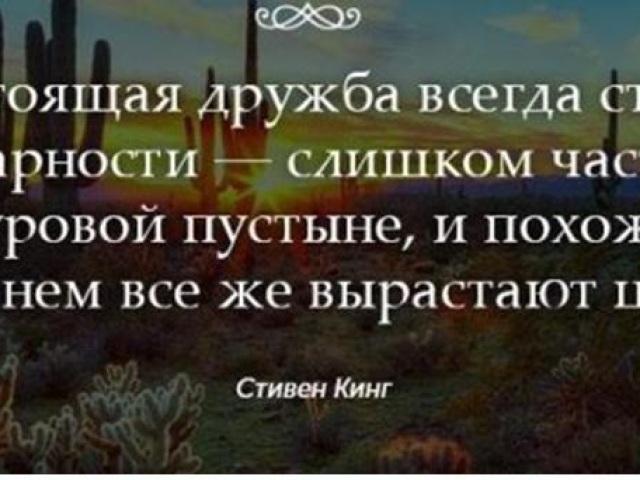 «Справжня дружба завжди варто подяки — занадто часто світ подібний до суворої пустелі» — хто автор цих рядків, як звучить повне вислів, цитата?
