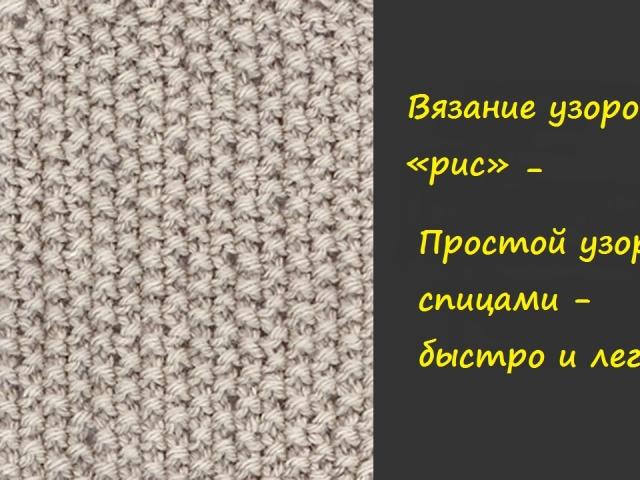 В'язка «рис», «подвійний рис» спицями: схема, покроковий опис, відео. В'язання снуда візерунком «рис» спицями. Яка в'язання спицями поєднується з малюнком «рис»?