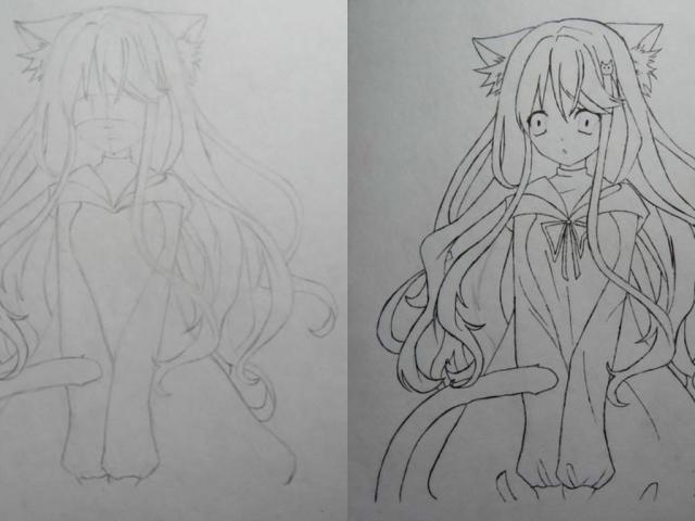 Як намалювати аніме кішку жінку, дівчину і дівчинку поетапно — голову і в повний зріст?