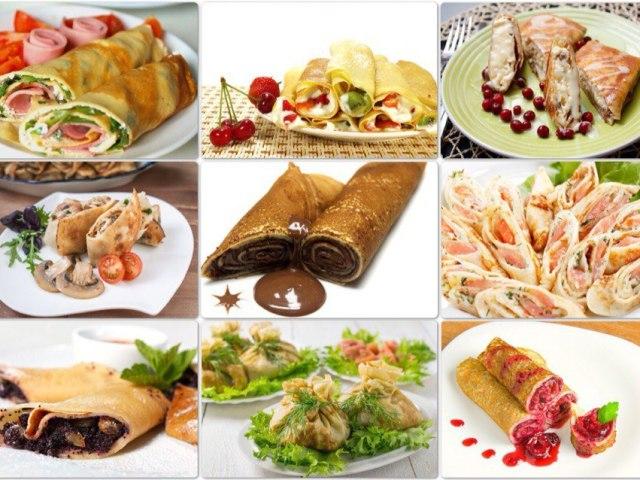 Кращі рецепти смачних начинок для фаршированих млинців. Як красиво загорнути і прикрасити млинці з різними начинками для святкового столу: варіанти, фото