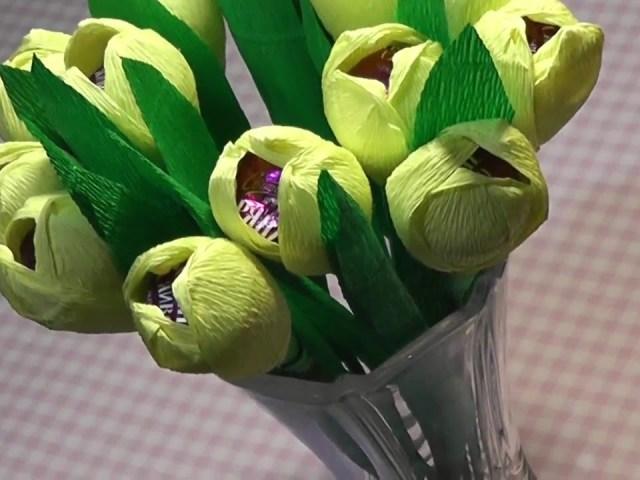 Виріб – тюльпан з паперу: майстер-клас, схема, шаблони, фото, відео. Як зробити об'ємний квітка тюльпан з паперу, оригамі, з креповой, гофрованого паперу та цукерок: покрокова інструкція. Як скласти з паперу тюльпан поетапно: фото