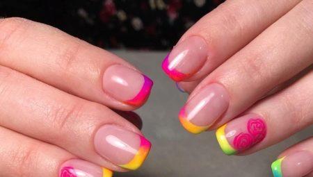 Ідеї оформлення кольорового френча на коротких нігтях