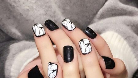 Варіанти чорно-білого манікюру для коротких нігтів