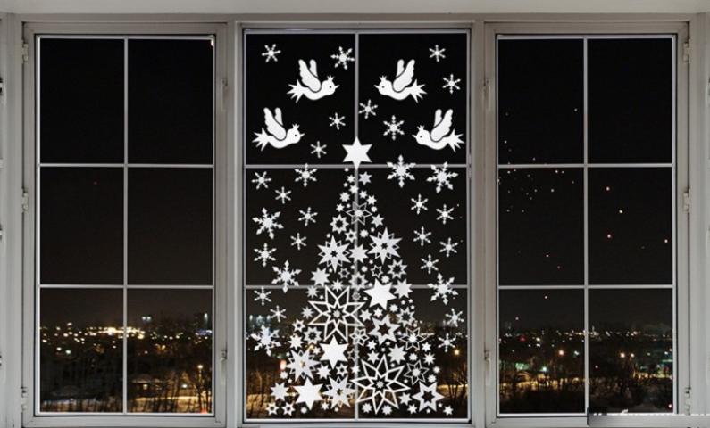 Зимові пейзажі з паперу для прикраси вікон до Нового року: роздрукувати і вирізати шаблони і трафарети для наклейки і малювання на вікнах, фото. Новорічні пейзажі, Місяць, місяць з паперу: сюжетні трафарети, шаблони, витинанки для оформлення новорічних ві